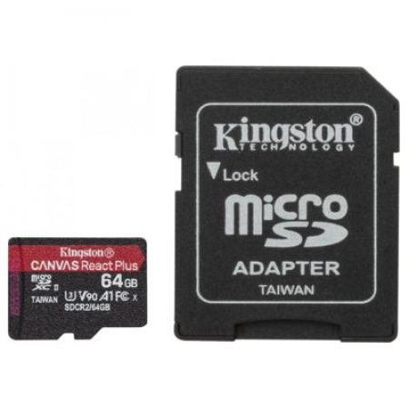 Kingston Karta pamięci microSD  64GB React Plus 285/165MB/s czytnik+adapter