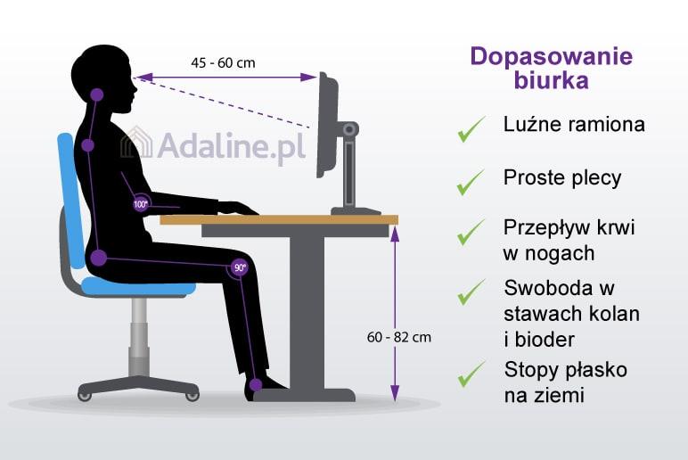 Właściwa wysokość biurka powinna być w przedziale od 60 do 82cm