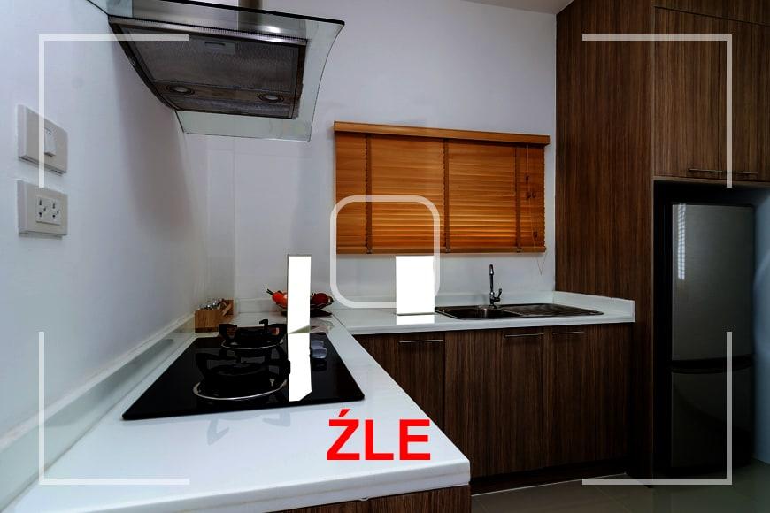 Robienie zdjęcia mieszkania na sprzedaż lub wynajem - nieprawidłowe oświetlenie pomieszczenia